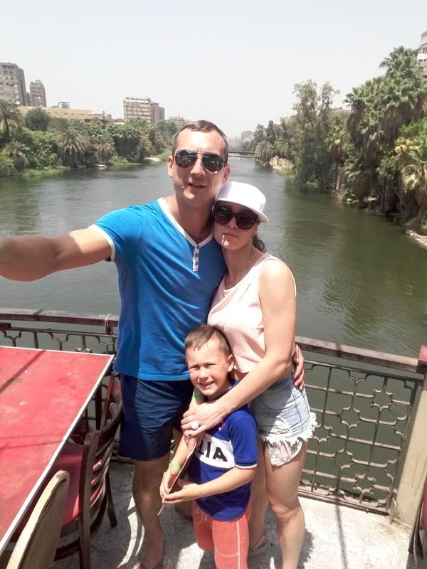 Pasiplaukiojimas Nilo upe su žmona Simona ir sūnumi Danieliumi Egipte.