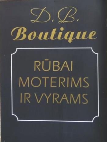 """Vietoj pranc. """"boutique"""" reiktų rašyti adaptuotą formąbutikas (Tai prabangių (autorinių) drabužių ir aksesuarų parduotuvė). Savininkai visgi ketina mokėti pinigus ir registruoti pavadinimą su prancūzišku žodžiu kaip prekės ženklą Lietuvos Respublikos valstybinio patentų biuro Prekių ženklų registre."""