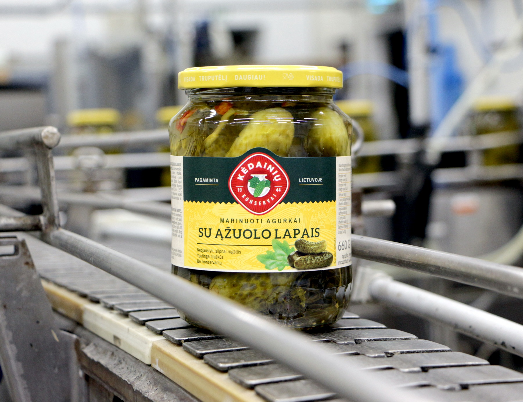 Pirkėjų ypač pamėgti marinuoti agurkėliai su ąžuolo lapais į prekybos vietų lentynas keliaus su naujomis etiketėmis.