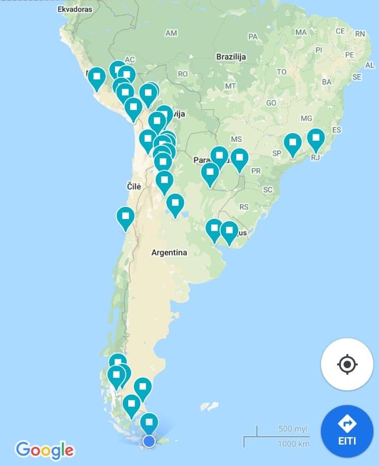 Štai kur vedė Otilijos maršrutas Pietų Amerikoje.