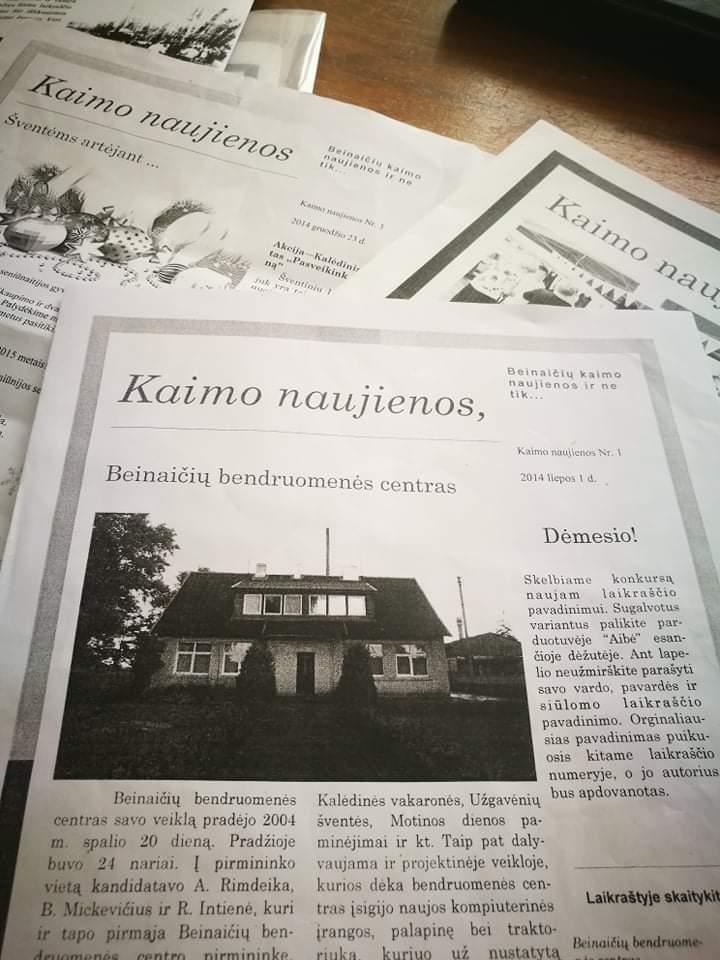 """Dar 2014 metais leistas Beinaičių kaimo laikraštukas """"Beinaičių kaimo naujienos ir ne tik"""". Asmeninio archyvo nuotr."""