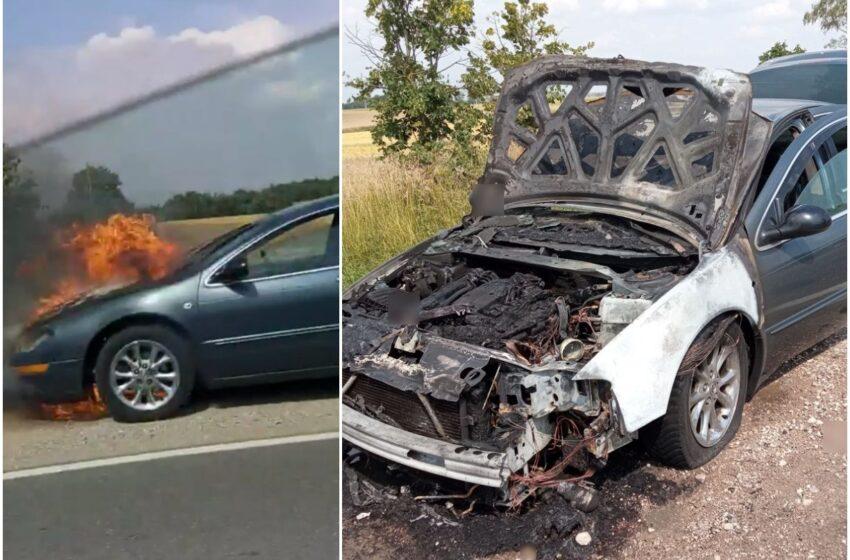 "Šalia ""Via Balticos"" atvira ugnimi degė automobilis (FOTOGALERIJA)"