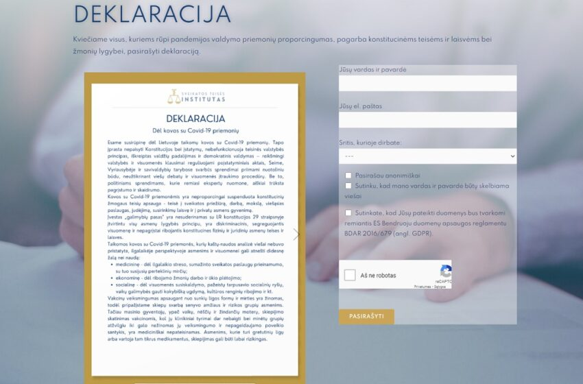 Sveikatos teisės institutas kviečia pasirašyti deklaraciją