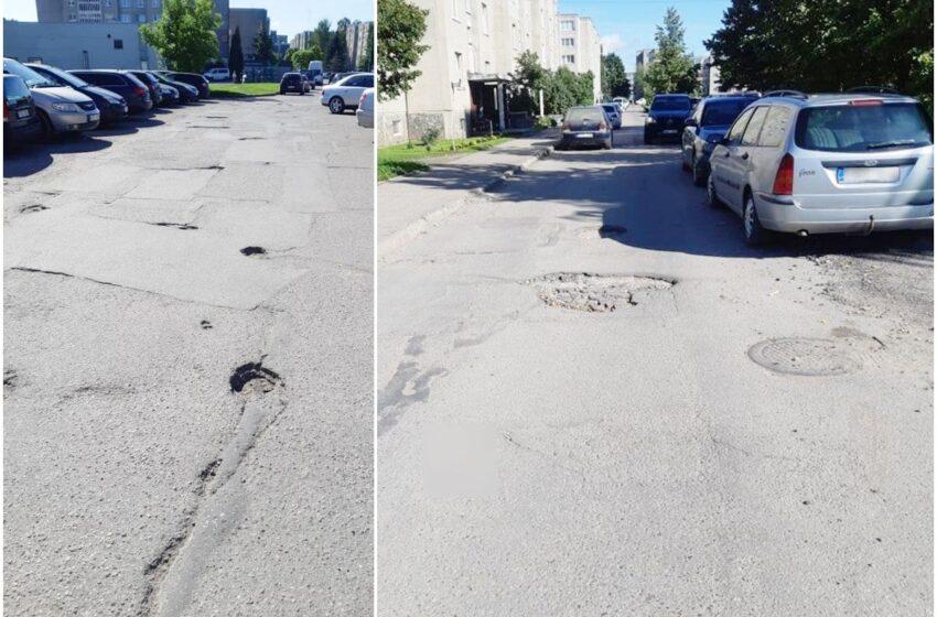 Vairuotojai skundžiasi kelio išdaužomis Respublikos gatvėje